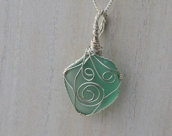 A Gift For Her, Lake Superior Beach Glass Necklace for Women, Beach Glass Pendant, Wire Wrapped Beach Glass