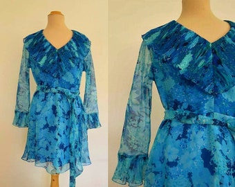 Vintage 1970s Dress - Blue Floral Chiffon Mini Dress With Pleated Collar and Cuffs - Van Roth - Bust 96 cm