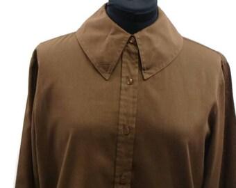 Vintage Brown Long Sleeve Shirt Long Sleeve Brown Top Vintage Button Up Blouse Vintage Button Up Shirts