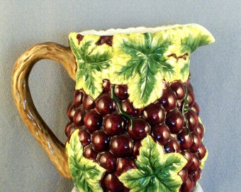 Ceramic Grape Pitcher // Raised Grape and Leaf Design // Plant Branch Look Handle // Purple // Green Leaves // Decorative
