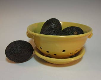 Colander Stainer Fruit Berry Bowl and Tray Yellow - Handmade Pottery