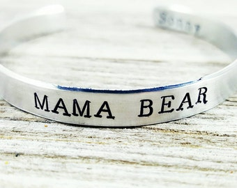 Mama Bear Cuff- Custom Bracelet- Kids names