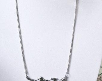 Vintage Antiqued Silver Tone  Birds and Nest on Branch Statement Necklace Unique
