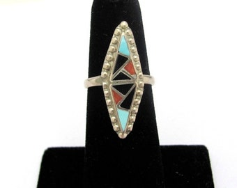 Vintage Zuni Sterling Silver Ring, Size 5.75, Turquoise Coral Black Onyx inlay Ring, Southwestern Design Stone Bold Statement Jewelry