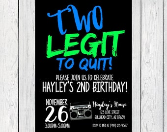 Two Legit to Quit - 2nd Birthday: Personalized birthday invitation- ***Digital File*** (Two-LegitNeon)