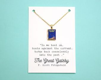 The Great Gatsby Book Quote and Locket Charm. So We Beat On Quote Card. F Scott Fitzgerald Vintage Book Necklace Jewellery. Literary Gift
