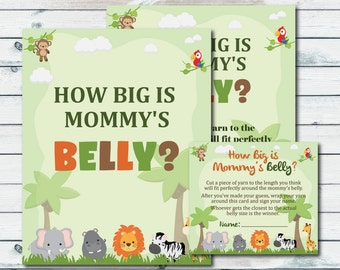 Measure Mommy's Belly Baby Shower Game, Safari Animals Baby Shower, Belly Guessing Game, How Big Is Mommy's Belly Printable Sign And Cards
