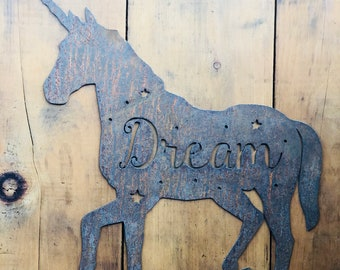 "Unicorn Dream - 18"" Rusty Metal Unicorn Dream -  For Art, Sign, Decor - Make your own DIY Gift!"