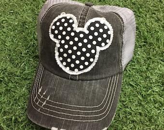 Mickey Mouse Disneyland Disney World Polka Dot Baseball Ladies Womens Trucker Hat