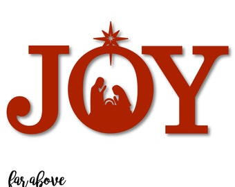 JOY Nativity Christmas SVG, DXF, png, jpg digital cut file for Silhouette or Cricut