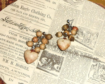Cluster Dangle Earrings Vintage Unique Beads Light Weight Hearts - item K308