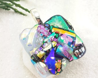 Dichroic fused glass pendant, fused glass jewelry, rainbow jewelry, fused glass art, artistic jewelry, handmade jewelry, dichroic necklace