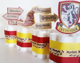 Harry Potter Diaper Cake Centerpieces, Harry Potter Mini Diaper Cakes,  Wizard Baby Shower Decor, Gryffindor Party Table Centerpieces
