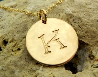 Gold Initial Necklace, Single Hand Stamped Gold Charm Necklace CALLIE GOLD by E. Ria Designs