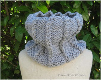 Gray wrap Snood knitted in fancy stitches