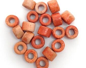 20 ceramic cylinder, terracotta speckled ceramic beads, ceramic beads, 6mm, mykonos, greek beads, orange beads, terracotta patterns, stains