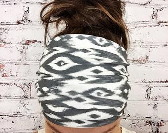 Tribal Ikat - Black & White - Eco Friendly Yoga Headband