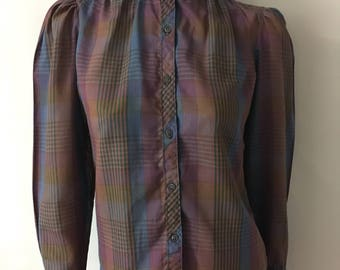 Vintage Women's 80's Ruffle Blouse, Plaid, Long Sleeve by Jan Taylor (M)