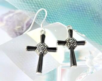 Cross Black Onyx Small Sterling Silver Earrings Pierced