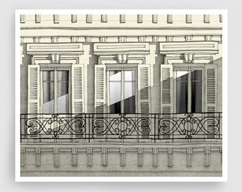 Paris balcony - Paris illustration Art Home decor Wall decor Wall art Print Poster Drawing Modern Architectural drawing Grey Facade Windows