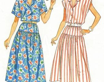 80s  Womens Summer Top & Dropped Waist Skirt Butterick Sewing Pattern 3814 Size 14 16 18 Bust 36 38 40 UnCut