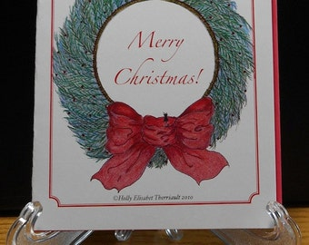 Merry Christmas Card/Packaged Christmas Cards/Christmas Art Card/Handmade Christmas Card