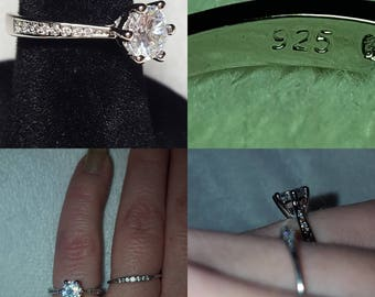 White CZ Sterling Silver Engagement Ring, size 5.5
