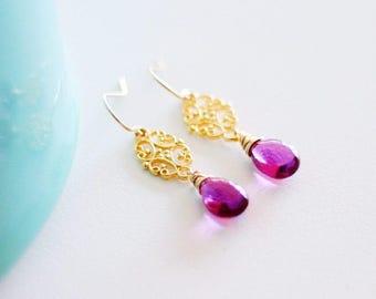Francine - Purple Quartz Filigree Earrings in Silver or Gold