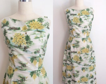 1950s Cotton Novelty Print Dress 28 inch Waist | 50s White Cotton Scenic Nature Print Dress Size Medium