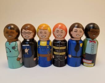 Hand Painted Community Helpers set