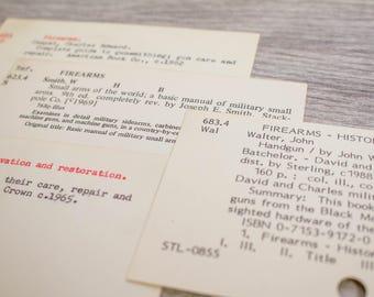 Vintage Firearms Guns Card Catalog Library History Books Junk Journal