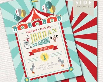 Circus Invitation, Circus Theme Invitation, Big Top, 1st Birthday Invitation, Circus Birthday Party // PRINTED or PRINTABLE INVITATIONS