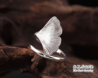 Handmade Silver Ginkgo Leaf Wrap Ring, Handmade 925 Silver Ring, Handmade Sterling Silver Jewelry, Wholesale Available