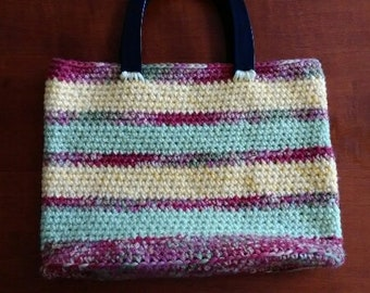 Multi Colored Striped Crochet Tote Bag