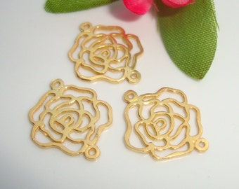 4 pcs,16mm x 14mm, 24K Gold Vermeil Sterling Silver 2 links open work Rose Blossom Link Connector - PC-0013