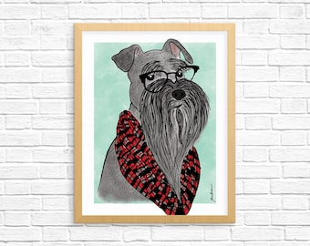 Dog Art Print, Miniature Schnauzer Art, Dog Lover Gift, Pet Portrait, Wall Art, Bearded Dog Art, Dorm Decor, Home Decor, Nursery Art
