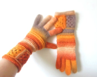 Wool Gloves Hand Knitted. Orange Multicolor Crochet Gloves. Handmade Women Hands Accessories. Christmas Gift designed by dodofit on Etsy