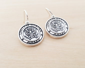 Army Earrings - Military Charm Earrings -  Sterling Silver Earrings - Silver Jewelry - Gift for Her