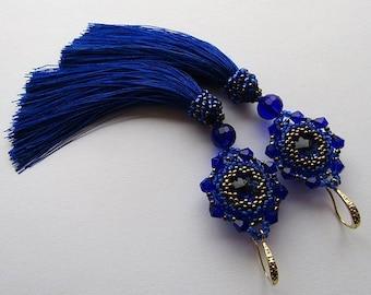 Blue Tassel Earrings Satin/Silk Earrings Cobalt Blue Dangle Earrings Tassel Light Earrings Blue Long Earrings Boho Tassel Earrings