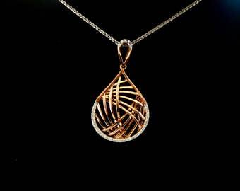 Rose gold and diamond pendant, fancy diamond pendant, criss cross pendant, large pearr shaped rose gold and diamond necklace