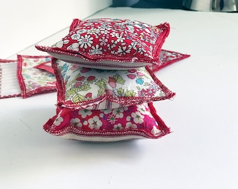 Pin Cushion Liberty of London Gift for the Crafter Seamstress Valentine Made in America Sewing Notion Red White Floral