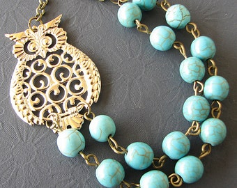Owl Jewelry Bib Necklace Owl Necklace Turquoise Jewelry Statement Necklace Beaded Necklace