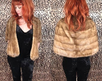 Vintage 1960's Light Brown Mink Fur Stole Autumn Haze
