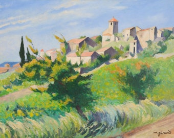 Vintage French Oil Painting Landscape - Hillside in Provence