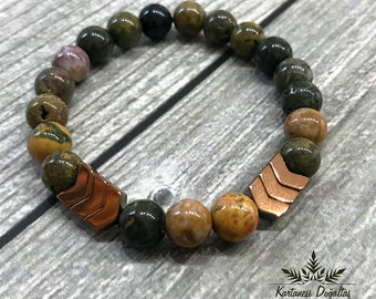 Ocean Jasper Bracelet, Gemstone Bracelet, Women Bracelet, Women Bead Bracelet, Stacking Healing Stone Yoga Bracelet, Gifts,
