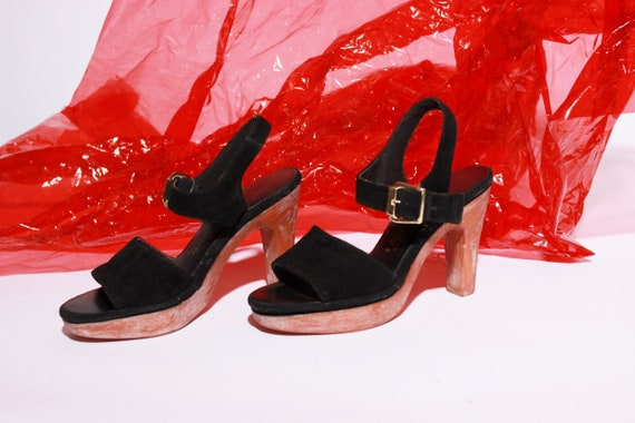 6 half Shoes 6 Size and Sole Disco Black a Suede 5 70s Ankle Heels Rubber Strap Ovcg8qw