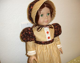 """American Girl Style 18"""" Doll Frontier/Prairie 2 pc Tan/Gold Checkered Print Dress and Hat"""