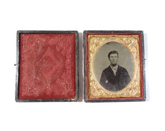 Vintage Tintype Photo of Man in Full Case / Civil War Era Tintype Photograph