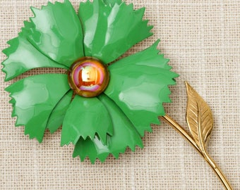 Kelly Green Flower Brooch Vintage Gold Iridescent Broach Costume Jewelry Pin 6Y