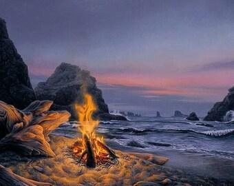 "Stephen Lyman ""Beach Bonfire"" Signed Numbered COA"